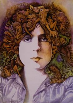'Marc Bolan 1972' oils on canvas painted by George Underwood (bandmate from David Bowie's first band)