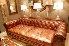"""It was fun having the HGTV group all over this Chesterfield Vintage Leather sofa, 47.25"""" deep!  super comfy"""
