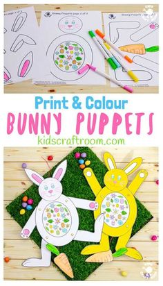These Print and Colour Paper Bunny Puppets are so fun! Pull the carrot to make them hop and dance! Such a fun Easter craft for kids. (Printable available in black & white and colour.) #kidscraftroom #easter #eastercrafts #EasterBunny #puppets #papercrafts #STEM #STEAM #papercrafting #kidscrafts #printable #printables #freeprintables #free printablecrafts Easter Art, Easter Crafts For Kids, Easter Activities, Preschool Crafts, Rabbit Crafts, Bunny Crafts, Paper Bunny, Puppet Crafts, Printable Crafts