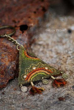Textile keychain with embroidery and bronze by EnelinPedak on Etsy, €15.00