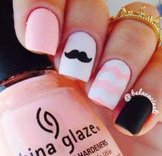 Peach, black and white nails. by Mustage nail art. Peach, black and white nails. Chevron Nail Designs, Chevron Nails, Pink Nails, Nail Art Designs, My Nails, Nails Design, Matte Pink, Matte Black, Black Nail