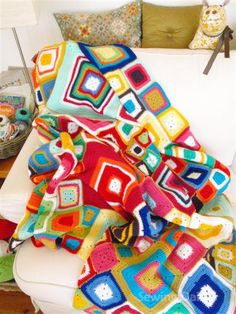 Bright Multi Coloured Crochet Afghan :)#crochet #afghan #blanket #grannysquares