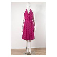 Vintage 1980s shocking pink Ted Lapidus halter dress by VintageKabinet on Etsy