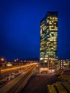Zurich - Prime Tower by Marco Hofmann on Places In Switzerland, Skyscraper, Beautiful Places, Multi Story Building, Around The Worlds, Tower, Board, Nostalgia, Architecture