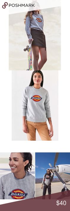 Dickies X Urban Outfitters Crew Neck Sweatshirt SOLD OUT ONLINE - This Dickies crew neck fleece sweatshirt is an easygoing weekend favorite in a lightweight cotton fleece blend with a smooth-knit exterior and a sherpa interior; rib-knitting at the edges keep the warmth inside.  Cotton-poly fleece blend with sherpa interior Ribbed crew neck with V-notch Stitched logo on front Rib-knit sleeve cuffs and hem Made in Pakistan  Fabric: 80% cotton, 20 Urban Outfitters Sweaters Crew & Scoop Necks