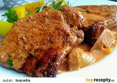 Grilované vepřové kotlety se sýrovo-brusinkovým přelivem recept - TopRecepty.cz Steak, Pork, Kale Stir Fry, Steaks, Pork Chops, Beef