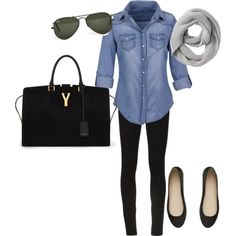 Chambray and Black by casualfashionista, via Polyvore