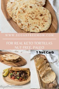 If you're looking for an authentic yet Low Carb Tortilla, try these nut free, keto, paleo and gluten free tortillas! These are the most legit keto tortilla you will ever have! Just 1 net carb per tortilla! | Sugar Free Mom