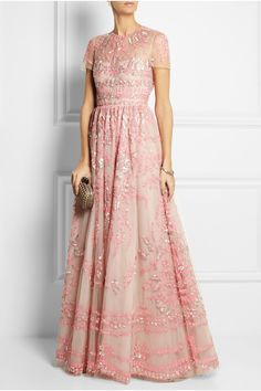 The most beautiful dress in the world. Wish I could wear this for my own wedding. Pink embellished tulle wedding gown by Valentino