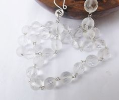 Fancy quartz, quartz necklace, sterling silver, ice necklace, clear quartz, clear beaded necklace, wear everyday, something special by graciedot on Etsy