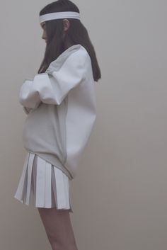 yes.... White on white dopeness! #pleatedskirt #athleticinspired #thestatementpullover