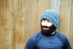 Beard Hat Mens Beard Beanie Crocheted Boys Bearded by TORYmakes, $24.00