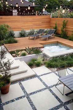 Backyard Patio Designs, Small Backyard Landscaping, Modern Landscaping, Landscaping Ideas, Backyard Ideas, Patio Ideas, Garden Ideas, Tropical Backyard, Mulch Landscaping