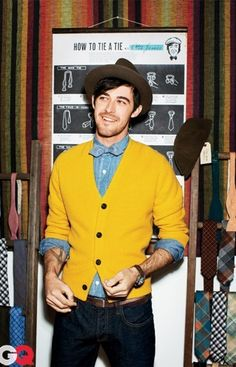 Chambray denim and yellow cardi & the bow tie matches the shirt exactly!