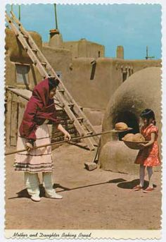 Mother and daughter baking bread, New Mexico, ca 1950-1960. Palace of the Governors Photo Archives 154377.