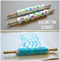 DIY rolling stamps. Makes great DIY wrapping paper!