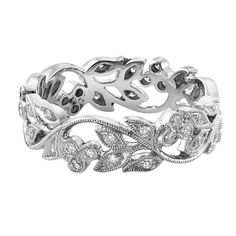 Wongs Jewellers - 18ct white gold vintage style wedding band set with diamonds.
