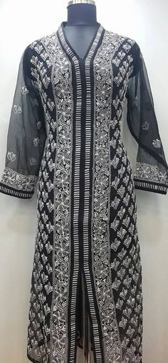 Lucknowi Chikan Hand Embroidered Kurti Black Faux Georgette $40.62