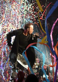 Singer Donnie Wahlberg of New Kids on the Block performs as confetti and streamers fall during the kickoff of The Main Event tour at the Mandalay Bay Events Center on May 1, 2015 in Las Vegas, Nevada.