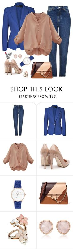 """""""Untitled #82"""" by cvorak90 ❤ liked on Polyvore featuring Topshop, Balmain, Rupert Sanderson, Chloé, Accessorize, Monica Vinader and Burberry"""