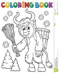 Coloring Book Krampus Theme 1 Stock Vector - Illustration of season, devil: 101023916 Winnie The Pooh, Coloring Books, Coloring Pages, Paw Patrol, Eps Vector, Yule, Classroom Charter, Pencil Drawings, Crafts For Kids