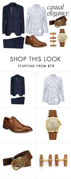 """casual  elegance for men"" by skatejane on Polyvore featuring Eleventy, Thom Browne, Alfani, Bulova, Robert Graham, Van Cleef & Arpels, men's fashion and menswear"