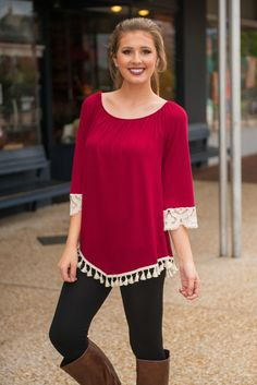 Berry Well Top, Burgundy - The Mint Julep Boutique