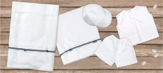 oil cloth set 6 pieces, ladopano,ladopana, λαδόπανα, set underwear baptism vaptism vaptisi Baptism Favors, Baptism Gifts, Christening Gifts, Baby Shower Gifts, Baby Gifts, Handmade Shop, Handmade Items, Handmade Gifts