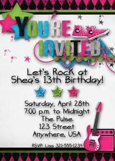 Rock Star Birthday Party Invitation  Girl Teen by DecidedlyDigital, $15.00