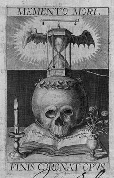 Memento mori betekent dat je leeft na je dood. Het tegenovergestelde van carpe Diem wat pluk de dag betekent. De zandloper staat op de doodskop omdat je leven op elk moment afgelopen kon zijn.