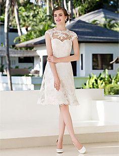 A-line Princess Jewel Knee-length Lace Wedding Dress (783944... – USD $ 129.99