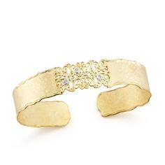 I. REISS Filigree Diamond Cuff. 14K yellow and white gold filigree diamond cuff featuring three round brilliant cut diamonds weighing .06 ctw. Designed by I. Reiss.
