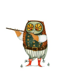 Owl illustration Giclee print | Owl playing the flute