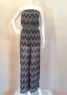 So fun and trendy #jumpsuit #onepiece #blackandwhite $54 Black and White Chevron Jumpsuit