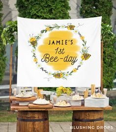 Celebrate your little honey turning ONE! Perfect birthday party theme for your child. Decorate our personalized bumble bee themed backdrop on the dessert bar. 1st Birthday Party Themes, Girl First Birthday, Baby Birthday, Birthday Party Decorations, Birthday Ideas, Birthday Banners, Birthday Invitations, Birthday Backdrop, Shower Invitations