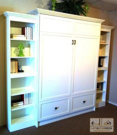 White Wallbed with Side cabinet! Great use for small spaces!