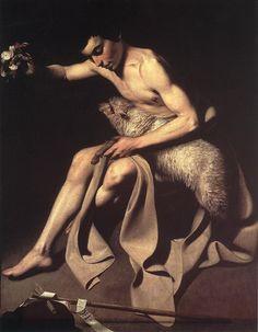 St John The Baptist, Oil by Caravaggio (Michelangelo Merisi) (1571-1610, Italy)