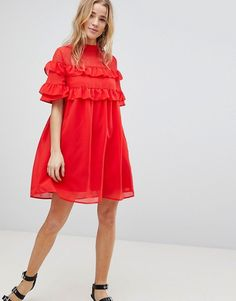 Influence | Influence Shift Dress With Frills