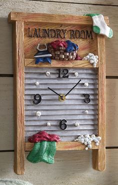 laundry room wash board | Laundry Room Vintage Washboard Wall Clock from Collections Etc.