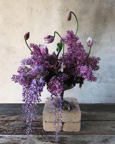 layers of purple florals - centerpiece inspiration - purple flowers Flower Power, My Flower, Lilac Flowers, Beautiful Flowers, Floral Wedding, Wedding Flowers, Modern Flower Arrangements, Floral Centerpieces, Centrepieces