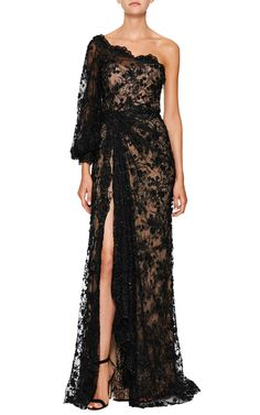 Black Re-Embroidered One Shoulder Gown by Marchesa for Preorder on Moda Operandi