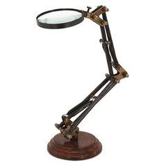 Standing Articulated Magnifying Glass ($44) ❤ liked on Polyvore featuring home, home decor, office accessories, standing magnifying glass and magnifying glass