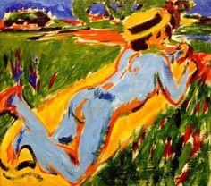 Liegender blauer Akt mit Strohhut (Lying Blue Nude) - Ernst Ludwig Kirchner  1909