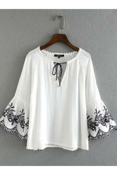 Boho White Embroidery Bell Sleeve Blouse #10-30 #meta-filter-color-white #meta-filter-size-l #meta-filter-size-m #meta-filter-size-s #new #shirts-blouses
