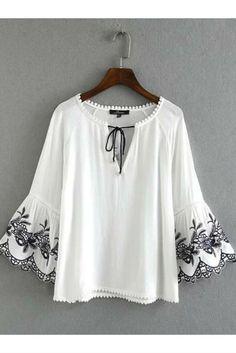 Boho White Embroidery Bell Sleeve Blouse #10-30 #meta-filter-color-white #meta-filter-size-l #meta-filter-size-m #meta-filter-size-s #new #shirts-blouses