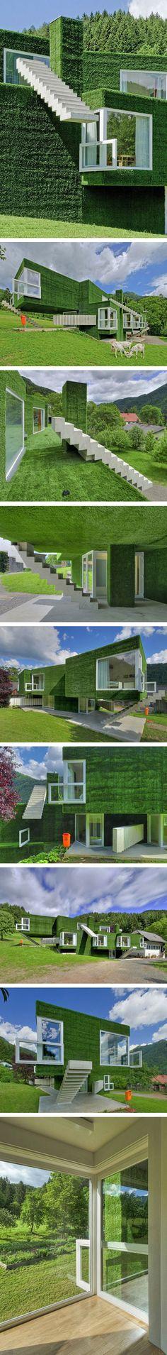 Green Architecture, Landscape Architecture, Vertical Green Wall, Astroturf, Eco Green, Unique Buildings, Vertical Gardens, House Landscape, Urban Farming