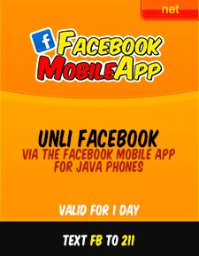 Unli Facebook Promo - Connect to friends and families for 1 day using this promo, there are no caps, so use it as you may, as long as you stay on Facebook domain your free from additional charge. To avail the promo send FB to 211 for P10 only.