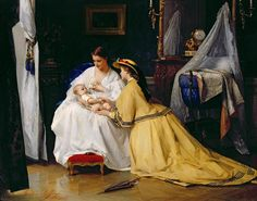Gustave Léonhard de Jonghe (Belgian painter) 1829 - 1893 First Born, 1863
