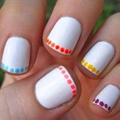 For a cool touch, just do a line of polkadots around the edge of your nail. | 27 Lazy Girl Nail Art Ideas That Are Actually Easy