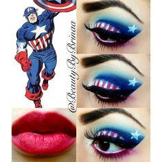 Captain America Eye Art Visit to grab an amazing super hero shirt now on sale! Halloween Eyes, Costume Halloween, Halloween Makeup, Disney Inspired Makeup, Disney Makeup, Eye Makeup Art, Eye Art, Captain America Makeup, Costume Makeup
